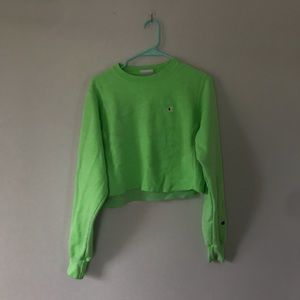 Neon Green Champion Cropped Crewneck Sweatshirt